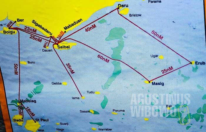 Peta daerah pesisir. Saibai, Boigu, dan Dauan adalah wilayah Australia (AGUSTINUS WIBOWO)