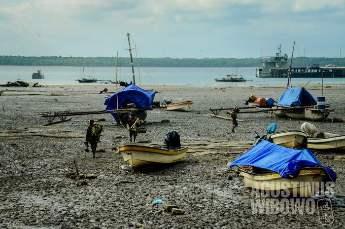 Pelabuhan Daru selalu ramai oleh perahu-perahu dari daerah pesisir dan Sungai Fly.