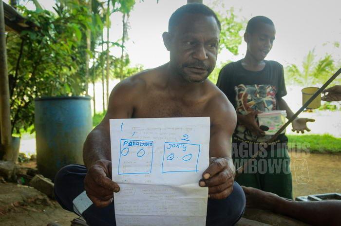 Mereka mengajari Dennis cara mencoblos dalam pemilu di Indonesia.