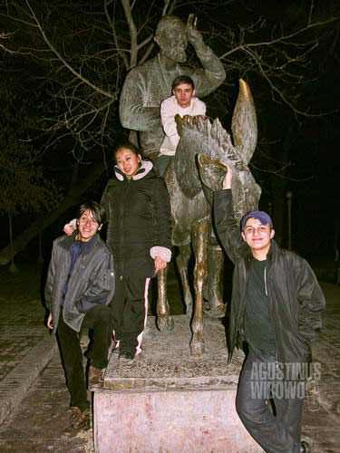 Patung Nasruddin di Bukhara. (AGUSTINUS WIBOWO)