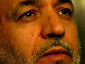 Hamid Karzai with tears