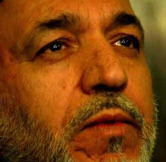 Hamid Karzai with tears