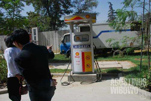 The embassy has its own gas station!