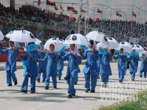 The happy parade inside the stadium