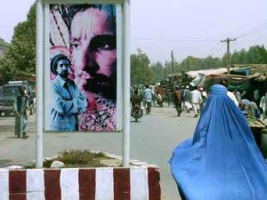 Taloqan: Ahmad Shah Massoud, Iranian flag, and burqa