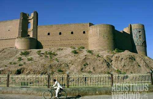 The Herat Citadel, known locally as Qala-ye-Ikhtiyaruddin, towers over the Old City of Herat, has foundations dating back as far as Alexander the Great. The present day fort was built by Shak Rukh in early 15th century.