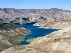 Band-e-Zulfiqar, the biggest among the five remaining lakes of Band-e-Amir. Band-e-Amir is believed to have been formed by the magic of Hazrat Ali, the fourth Caliph and the first Imam, and therefore the sites became a major pilgrimage, especially for the Afghan Shiites.