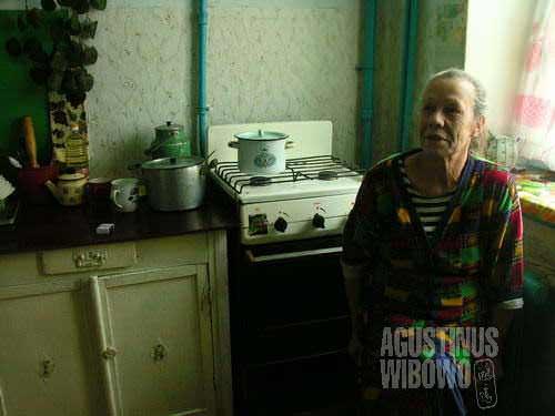 Lyubova in her apartment