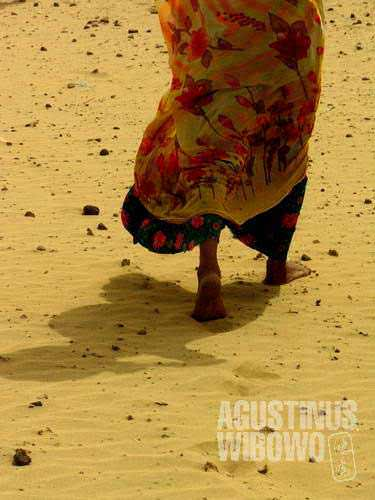 Walking on hot sand for hours, just for water